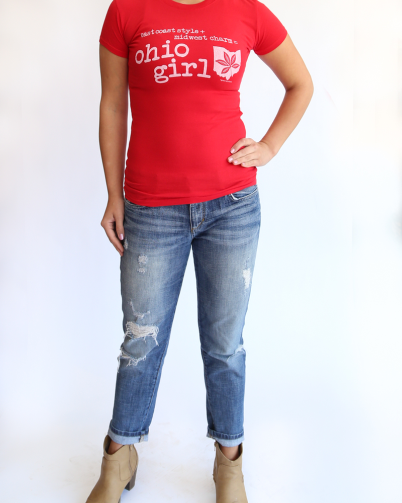 Great to Be Here Tees Ohio Girl Tee, Red, asle item, Was $25