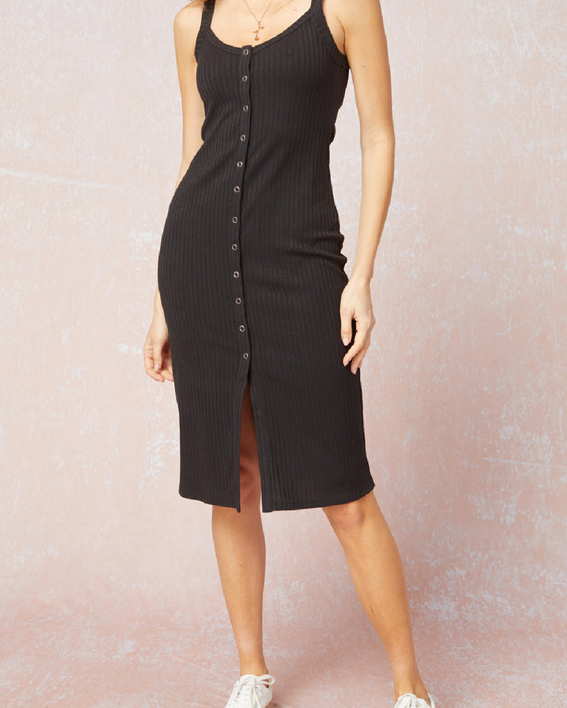 Entro Ribbed Button Front Dress