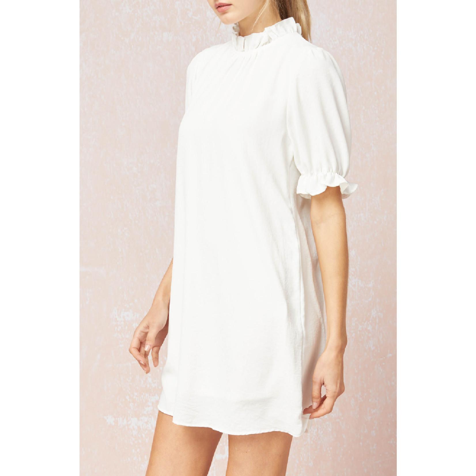 Entro Solid Puff Sleeve Dress