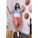 Entro Ruffle Sleeve Colorblock Dress