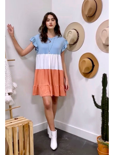 Entro Ruffle Sleeve Colorblock Dress