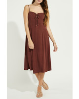 Gentle Fawn Lace Up Linen Mix Dress