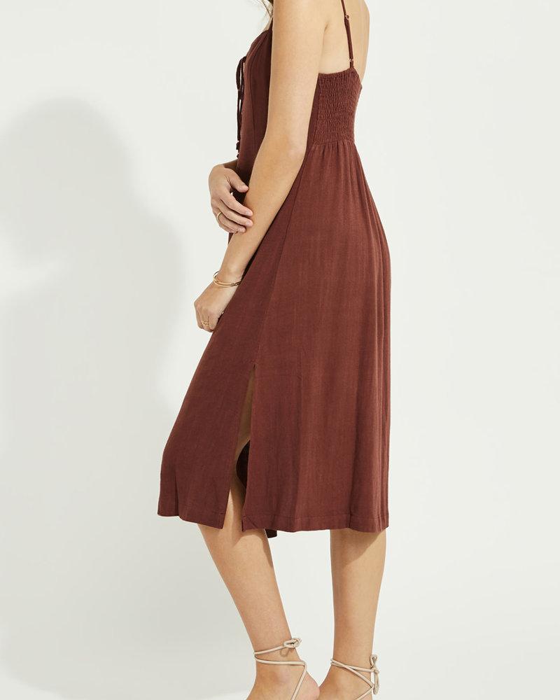 Gentle Fawn Lace Up Linen Mix Dress