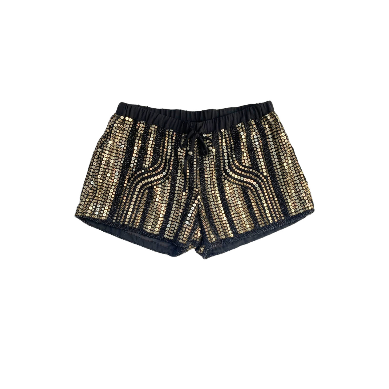 Wish Collection Sequin Track Shorts, Black