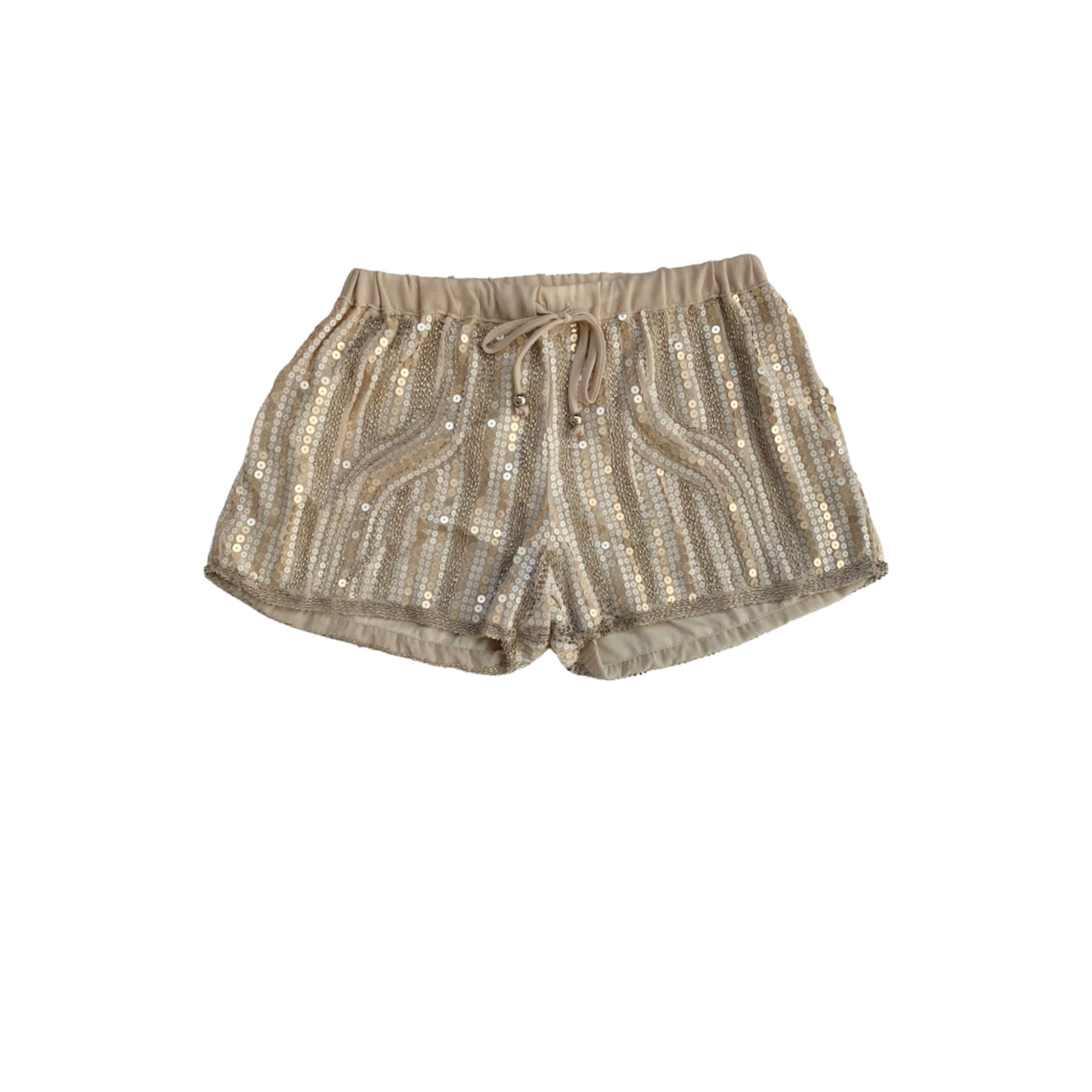 Wish Collection Sequin Track Shorts, Gold