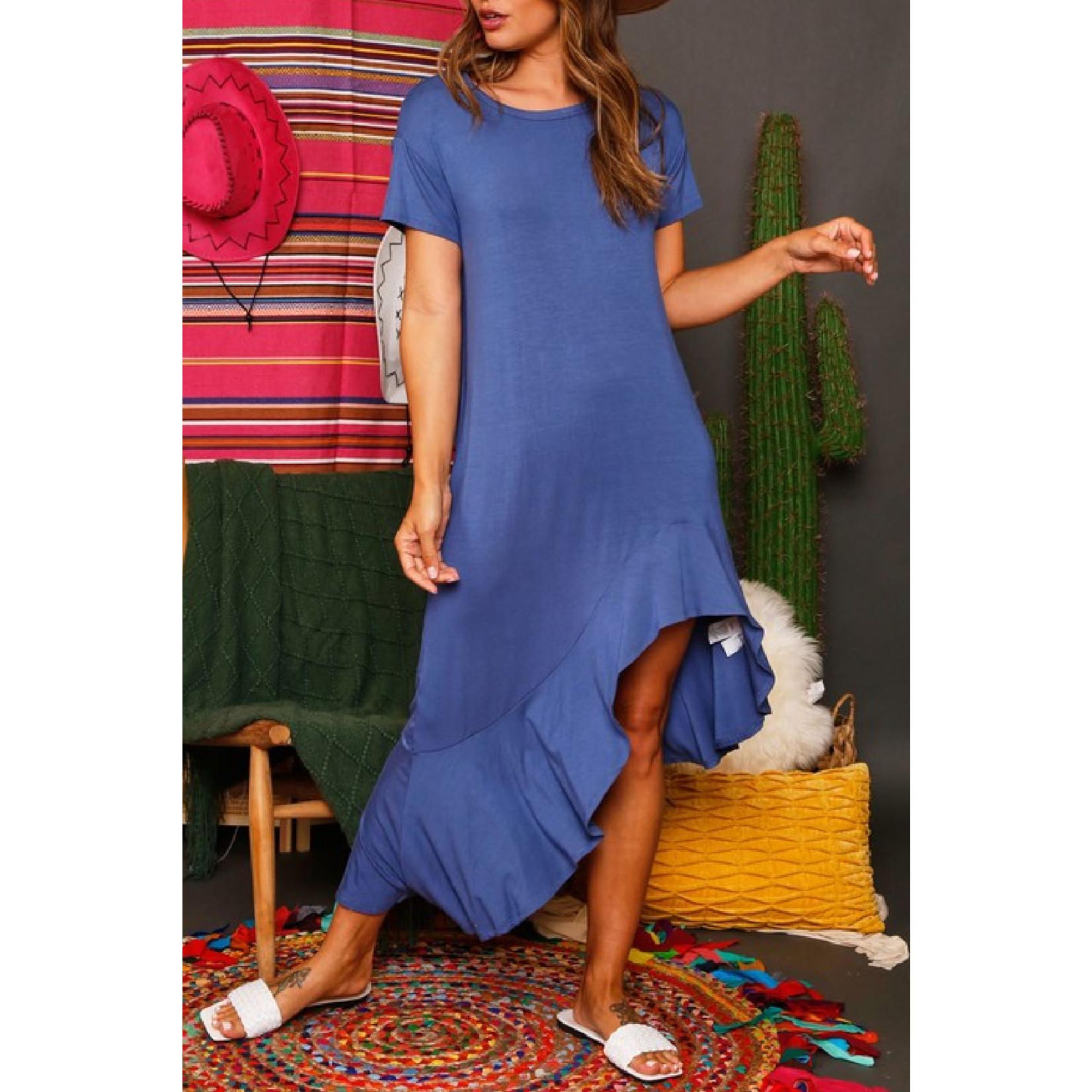 Fantastic Fawn Ruffle Hem Midi Dress