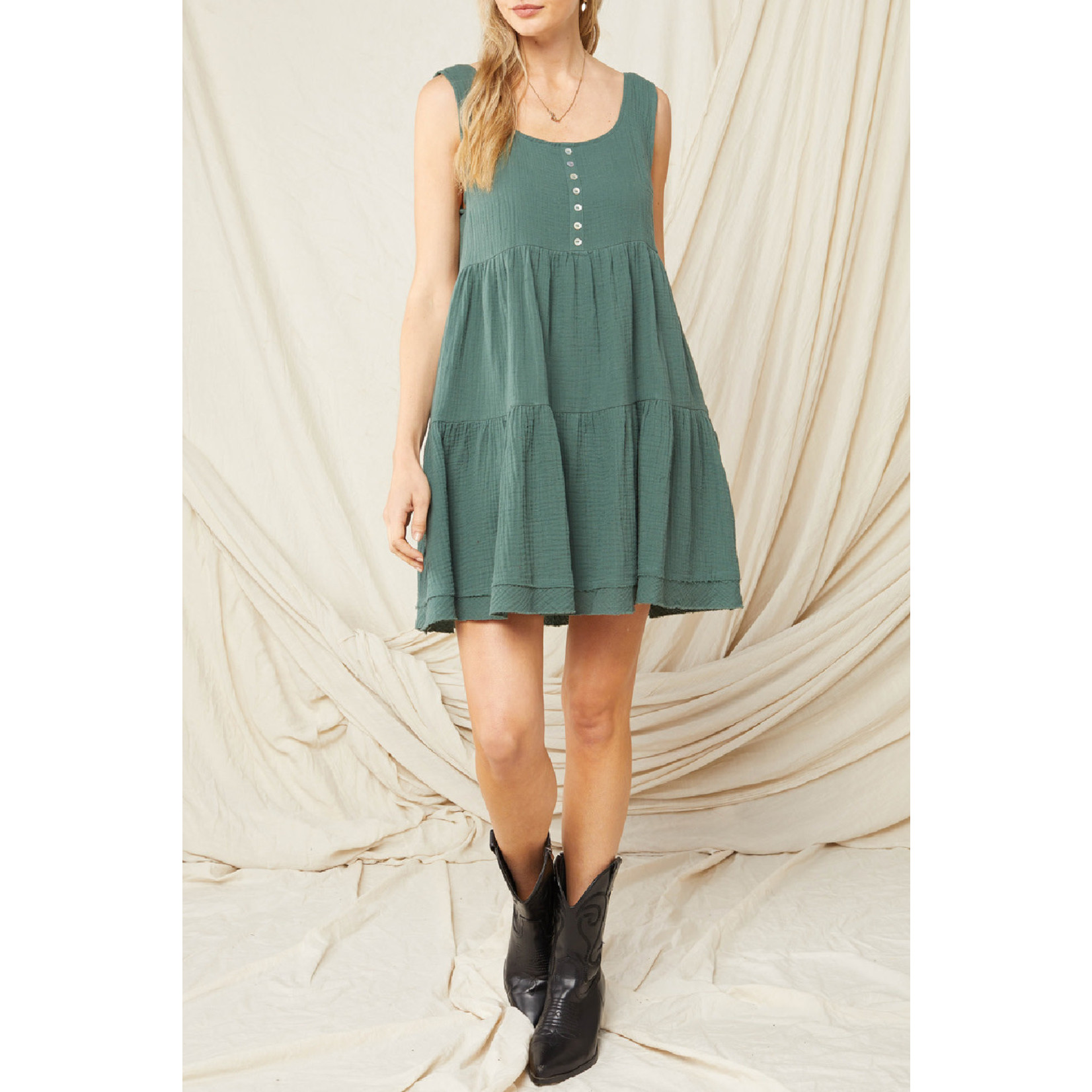 Entro Solid Tiered Tank Dress