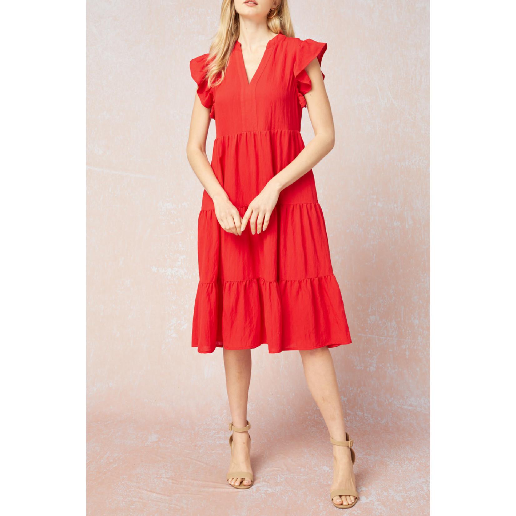 Entro Knee Length Ruffle Sleeve Dress