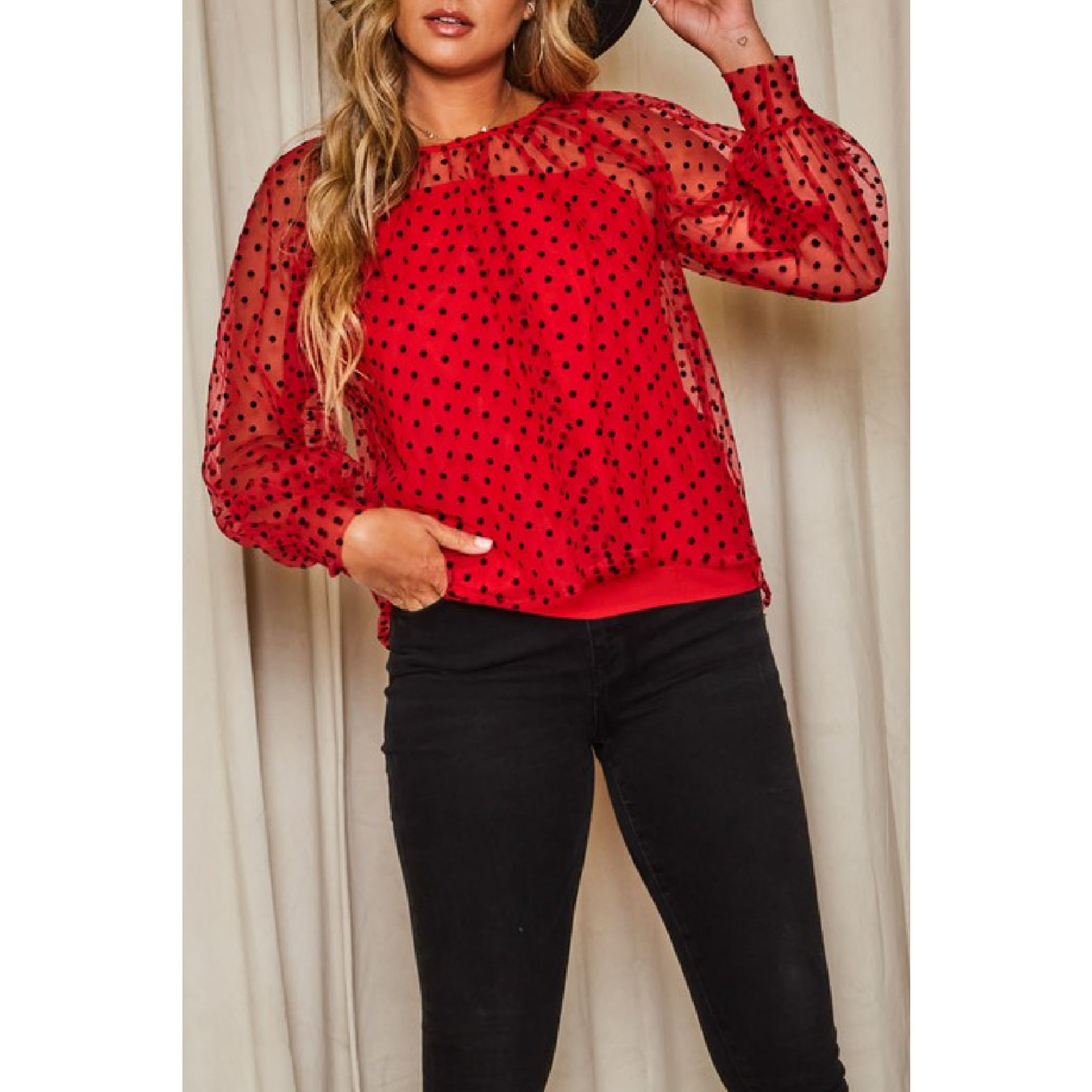 Peach Love CA Dotted Blouse with Cami