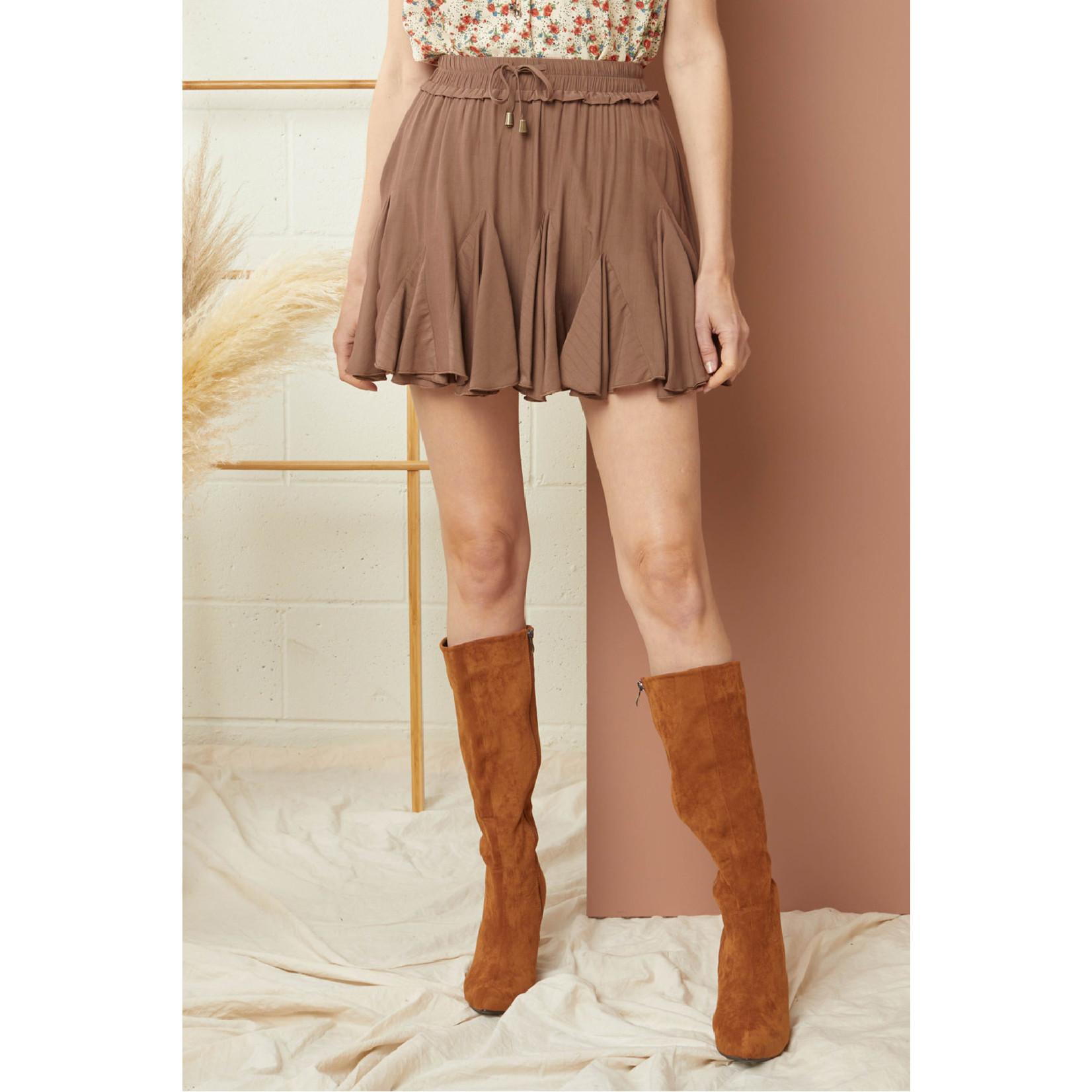 Entro Drawstring Waist Skirt with Shorts