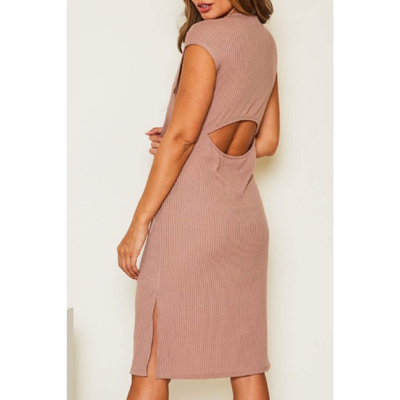 Fantastic Fawn Open Back Ribbed dress