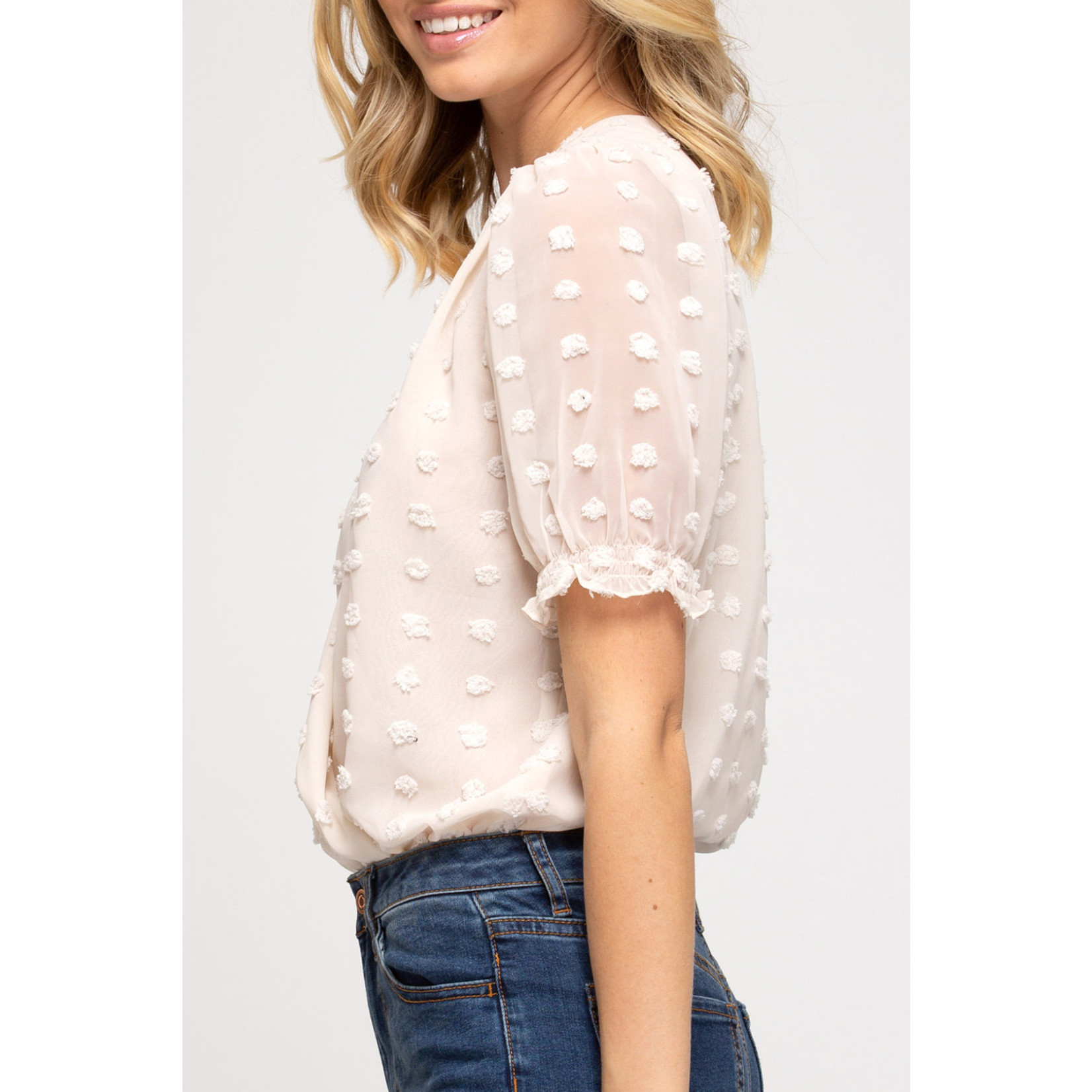 She & Sky Dotted Puff Sleeve Bodysuit