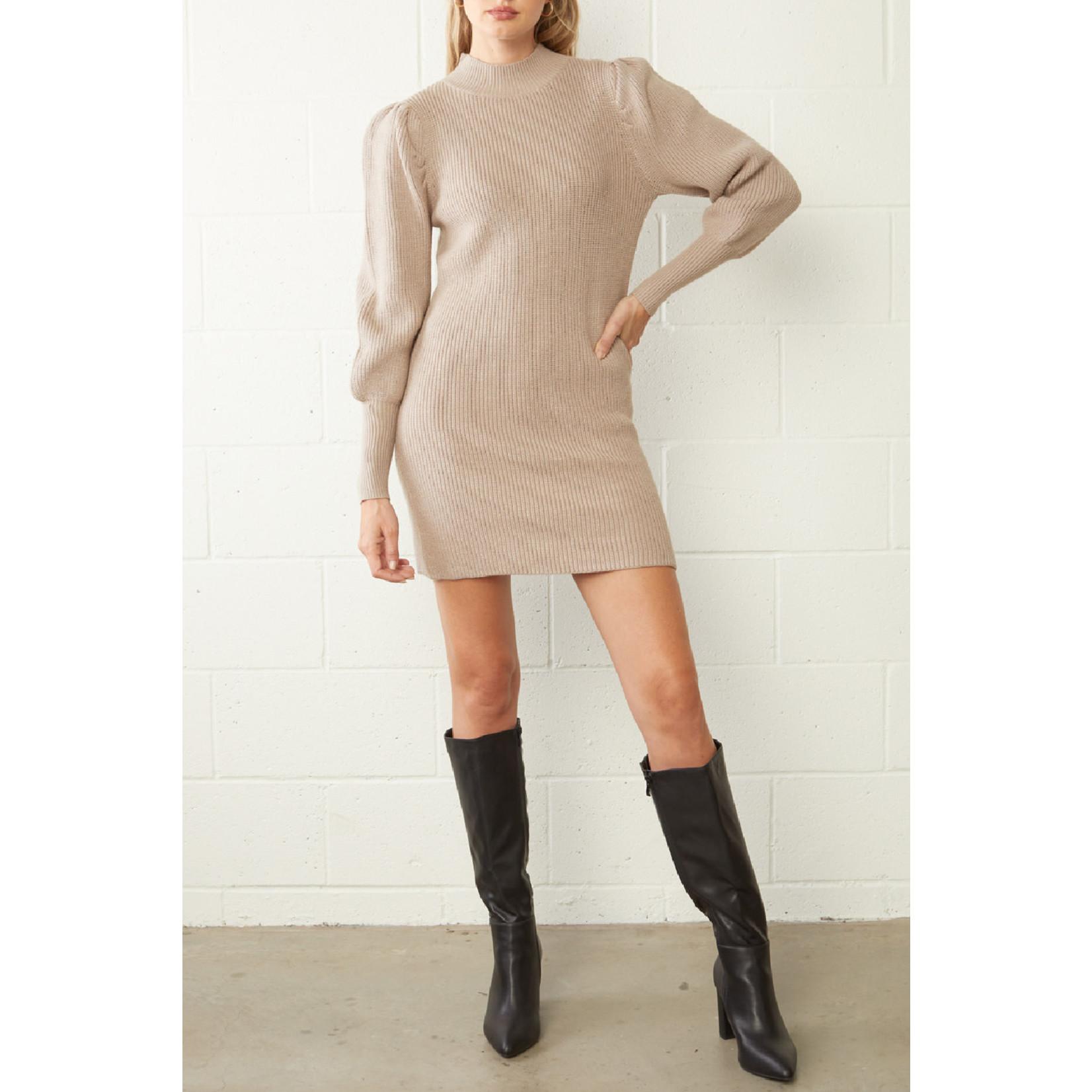 Entro Ribbed Long Sleeve Sweater Dress