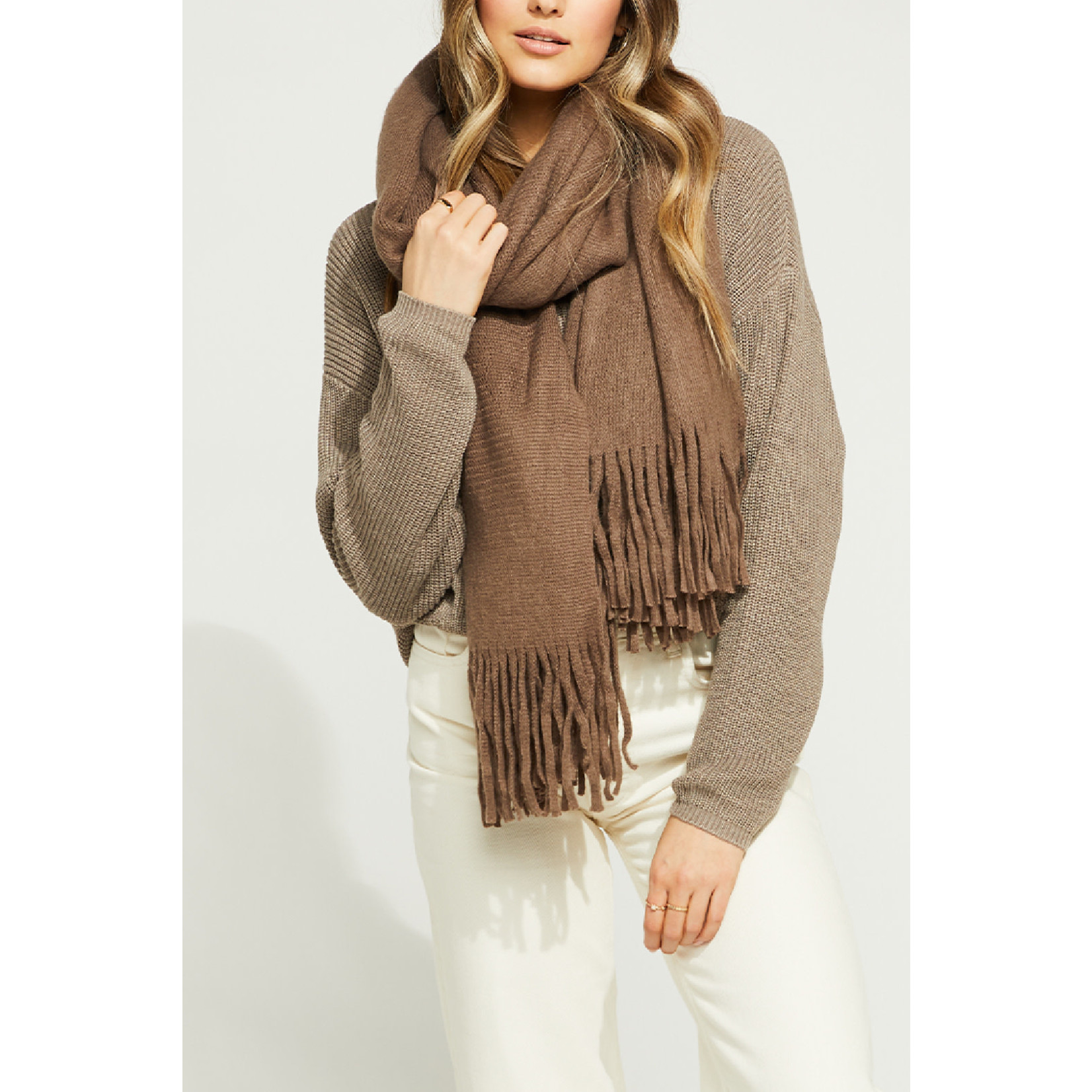 Gentle Fawn Long Scarf with Fringe