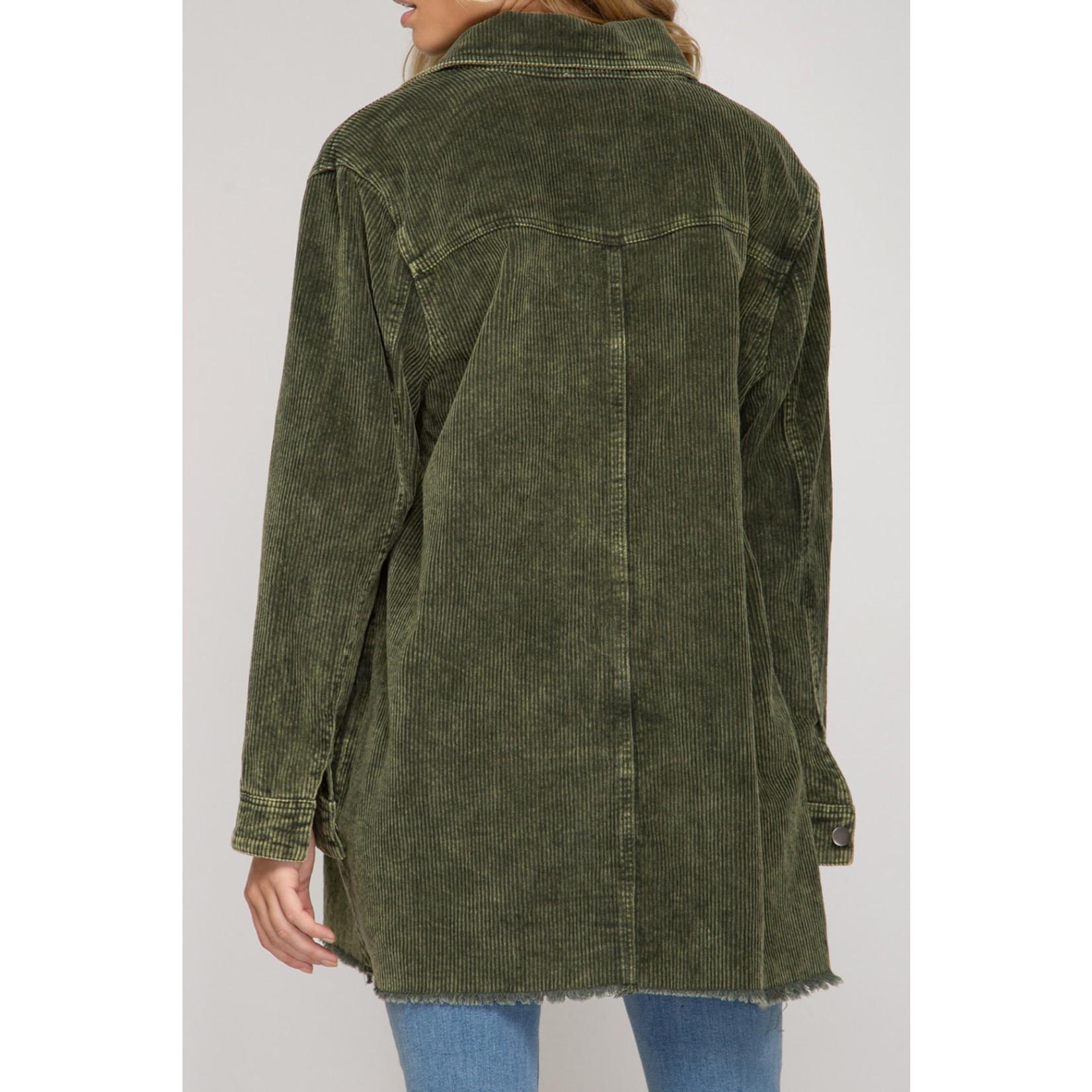 She & Sky Corduroy Button Down Shirt/Jacket
