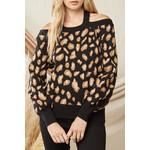 Entro Cutout Leopard Print Sweater