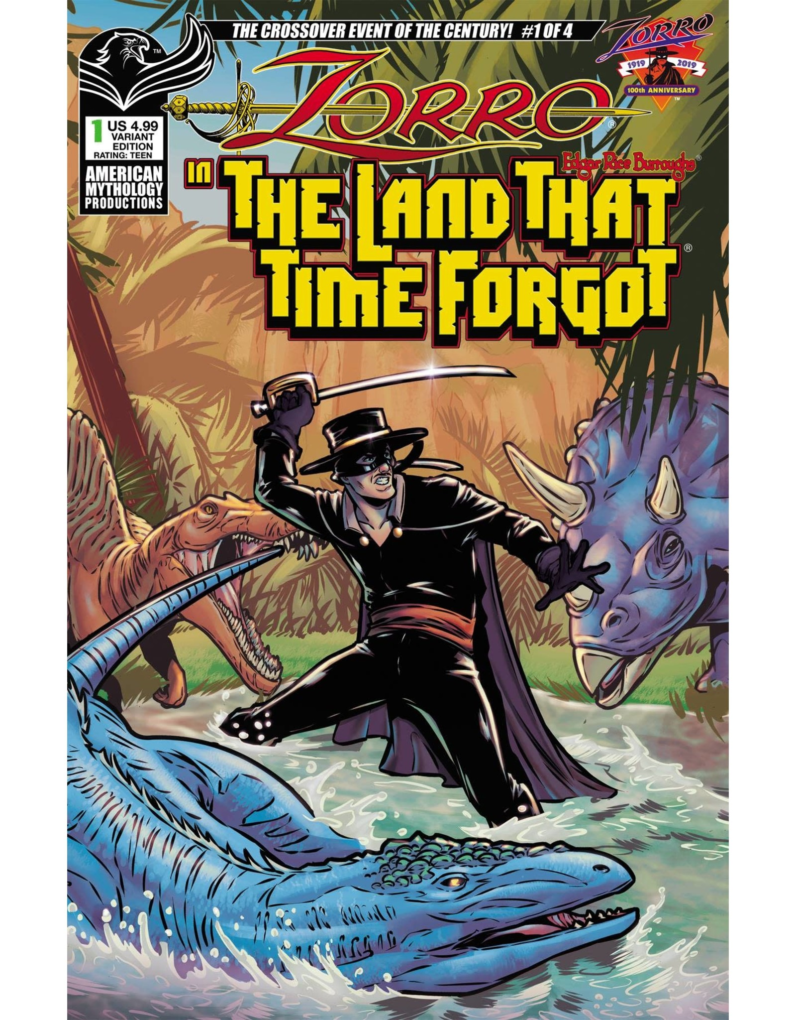 AMERICAN MYTHOLOGY PRODUCTIONS ZORRO IN LAND THAT TIME FORGOT #1 CVR B PUGLIA