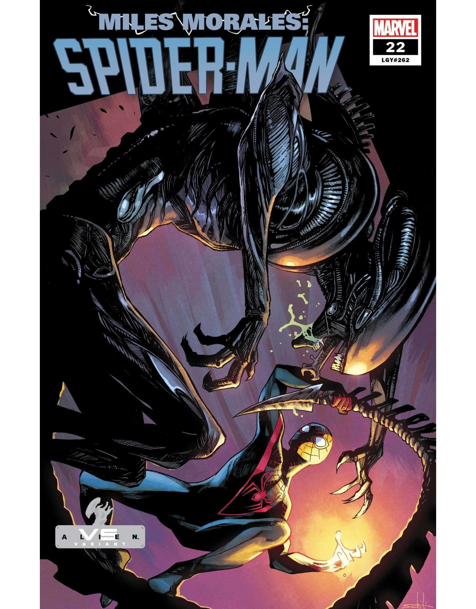 Marvel Comics MILES MORALES SPIDER-MAN #22 SCHITI MARVEL VS ALIEN VAR