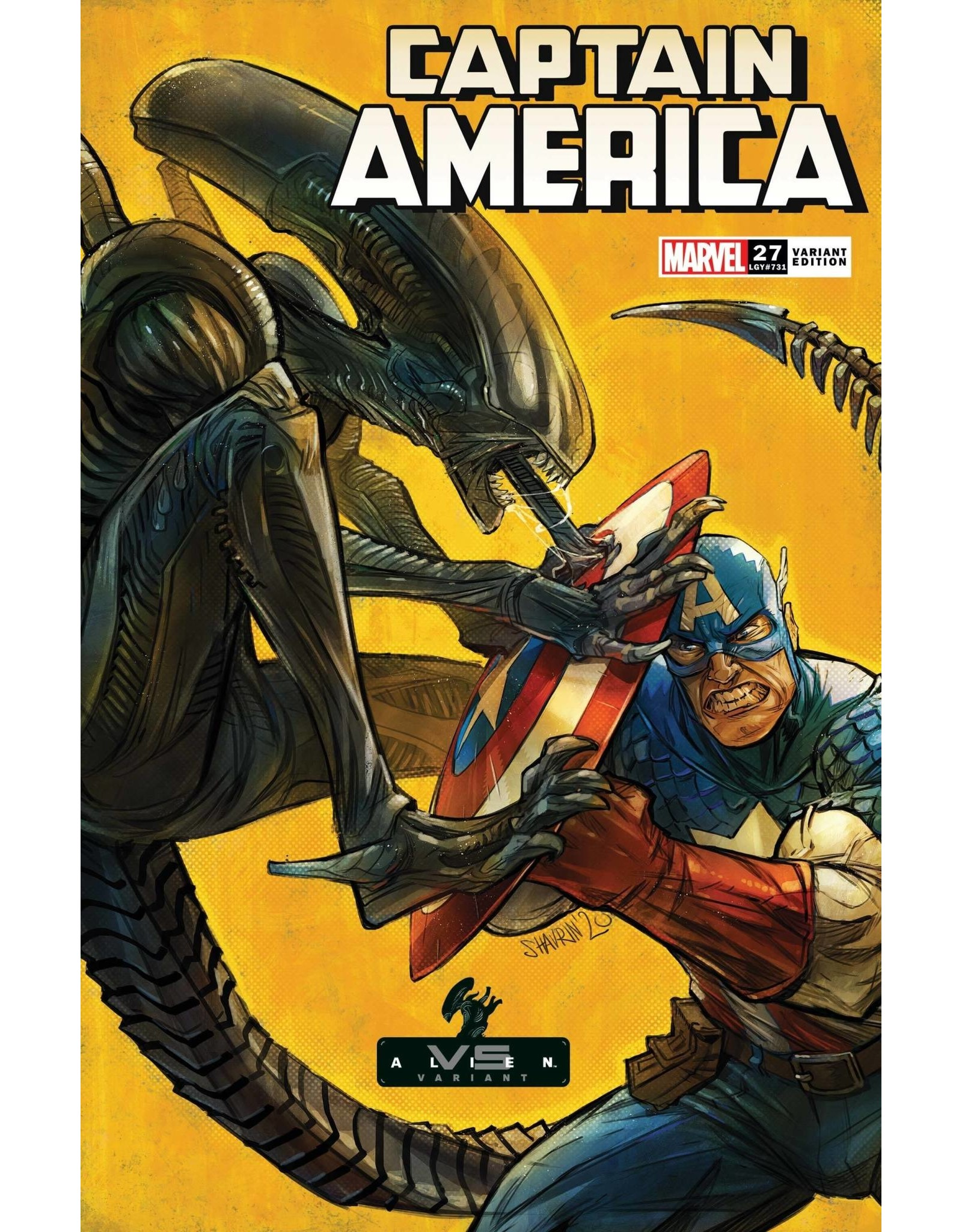 Marvel Comics CAPTAIN AMERICA #27 SHAVRIN MARVEL VS ALIEN VAR
