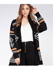 DEX L/SLV TRIBAL OPEN CARDIGAN
