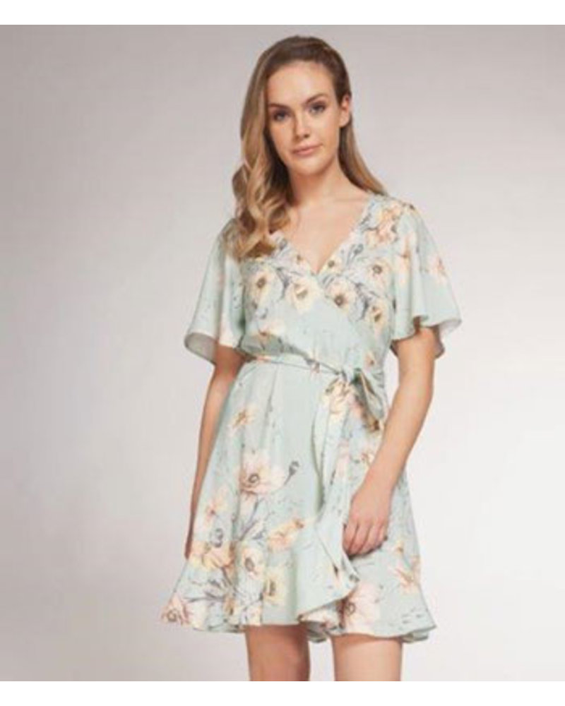 DEX S/SLV WRAP DRESS