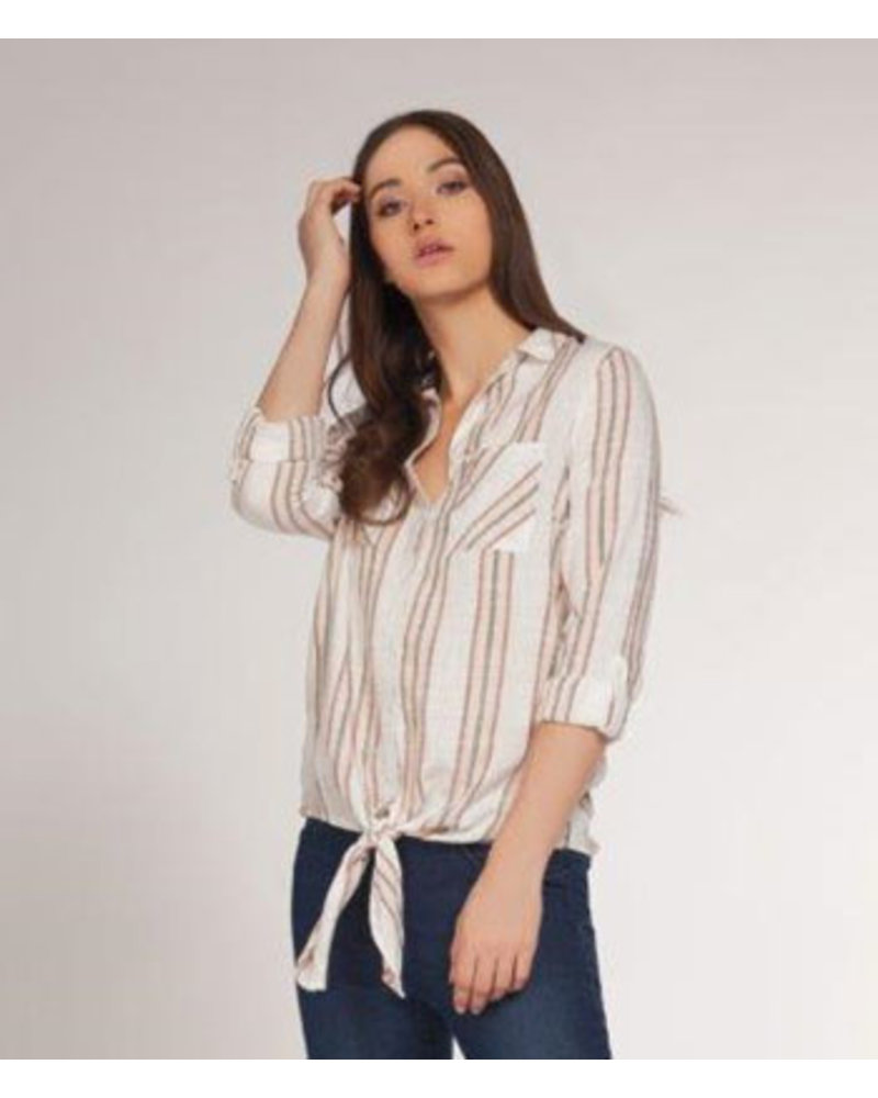 DEX BUTTON DOWN TIE FRONT SHIRT