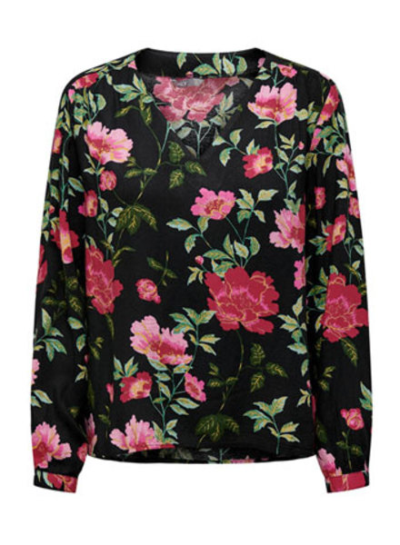 ONLY ONLFAYE L/S V-NECK TOP WVN AOP:ELECTRIC FLOWER / SHOCKING PINK
