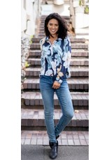 Willow Tree Floral Navy Blouse