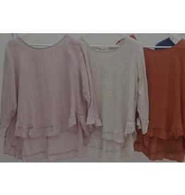 Worthier Linen Frill Hem/Sleeve top