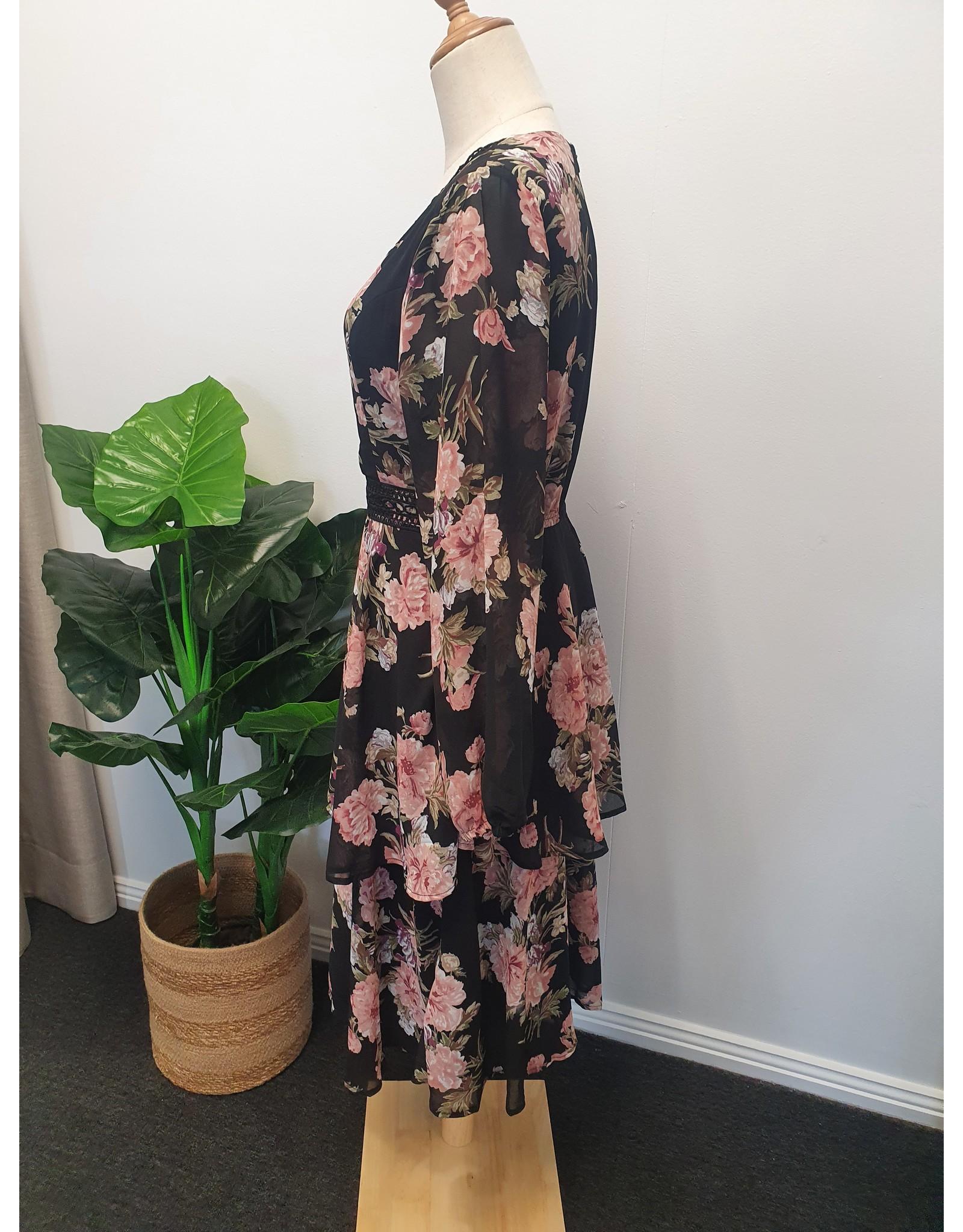 Lorraine Black Layered Floral dress