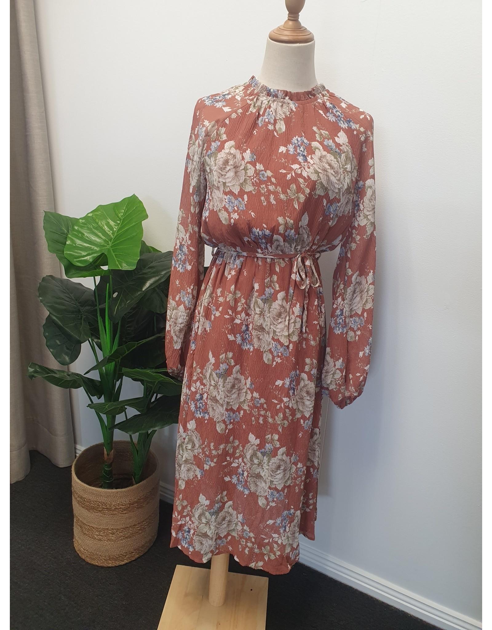 Lorraine Crinkle Long Sleeve  Dress