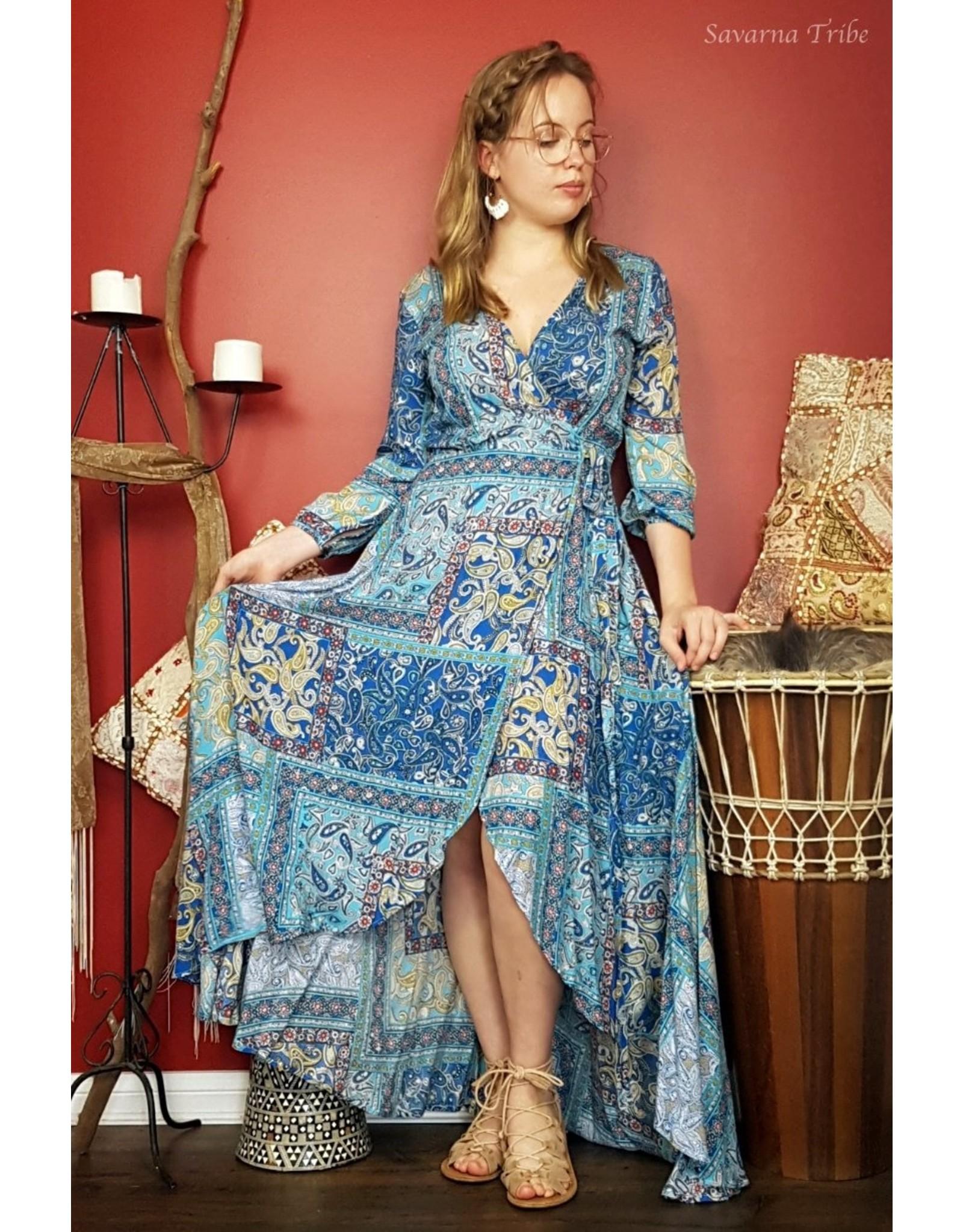 Savarna Tribe Long Wrap Dress 3/4 Sleeve