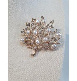 Little Secrets Diamond/Pearl Gold Tree Brooch
