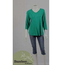 Bamboo By Whispers Bamboo 3/4 Sl V Neck Top