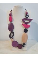 Cinnamon creations Wooden Purple Bird Necklace