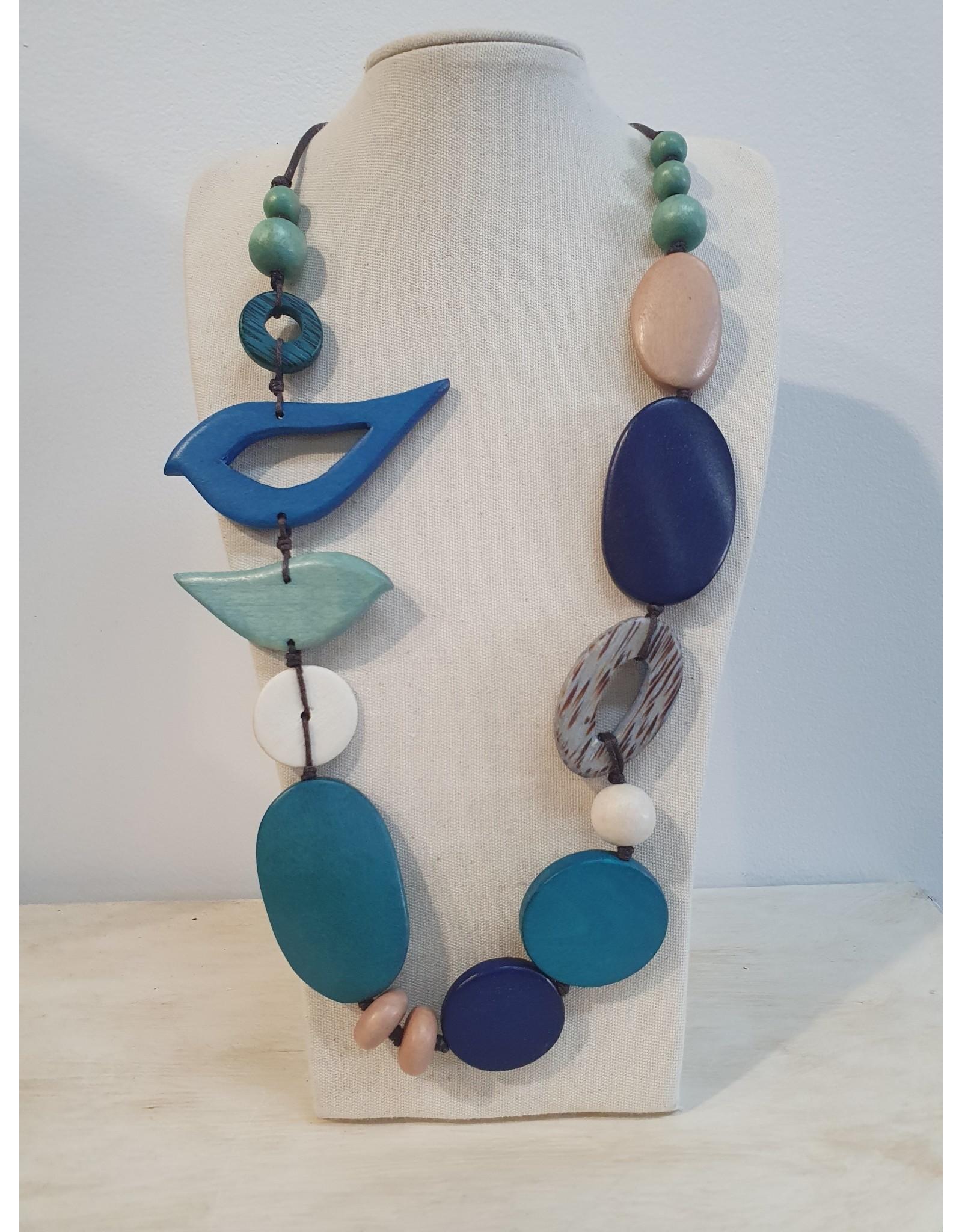Cinnamon creations Wooden Blue Bird Necklace