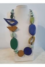 Cinnamon creations Wooden Dark Blue Bird Necklace
