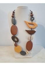 Cinnamon creations Wooden Mustard Bird Necklace