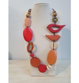 Cinnamon creations Wooden Red/Orange Bird Necklace