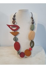 Cinnamon creations Wooden Red/Mustard Bird Necklace