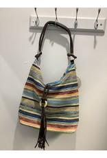 Isabella Boho BAG Blue Strip Tassel