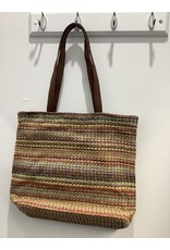 Isabella Boho Stripe Woven Bag With PV Leather Straps