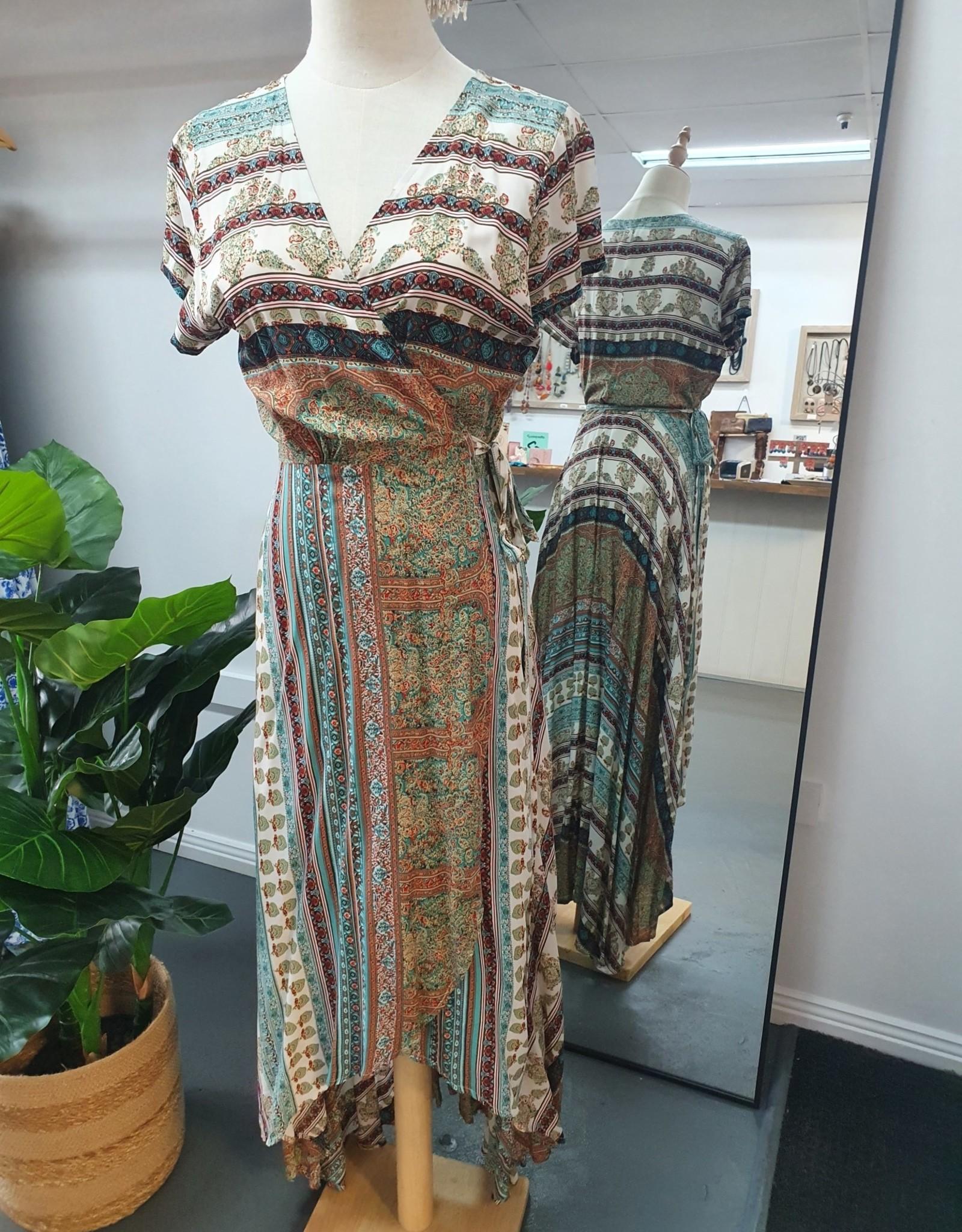 Savarna Tribe Long Wrap Dress Cap Sleeves