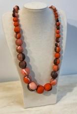 Tigress Angela Orange Marble Beaded necklace