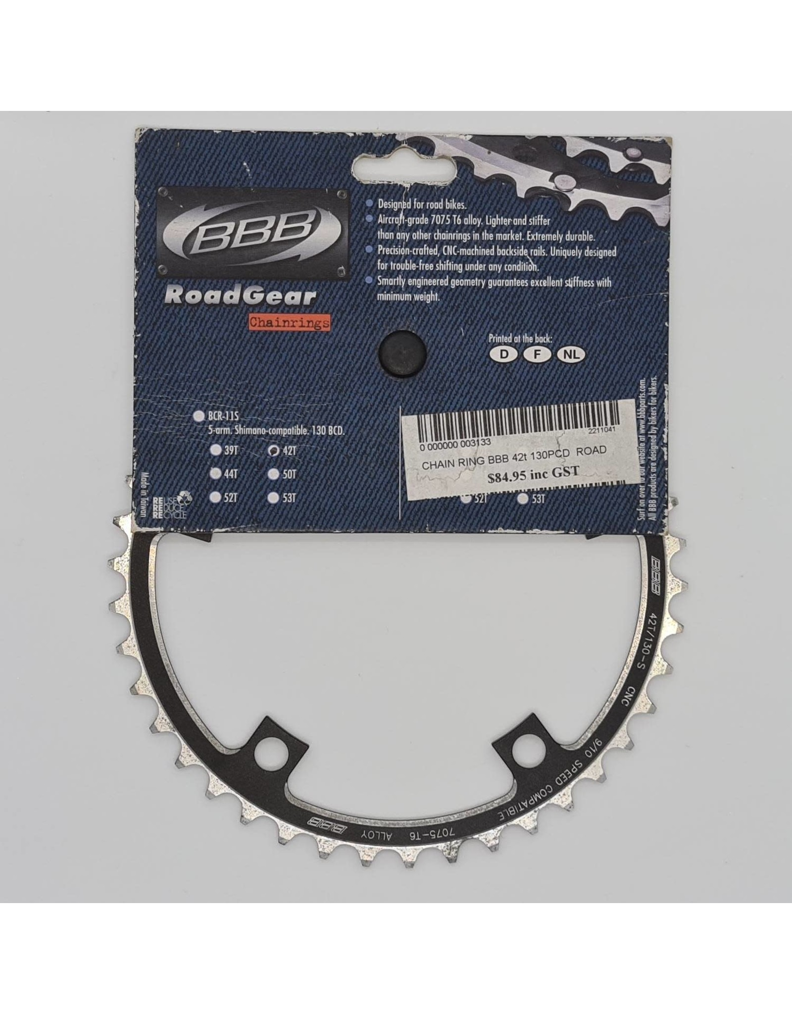 BBB CLEARANCE ROADGEAR CHAIN RING 42/130