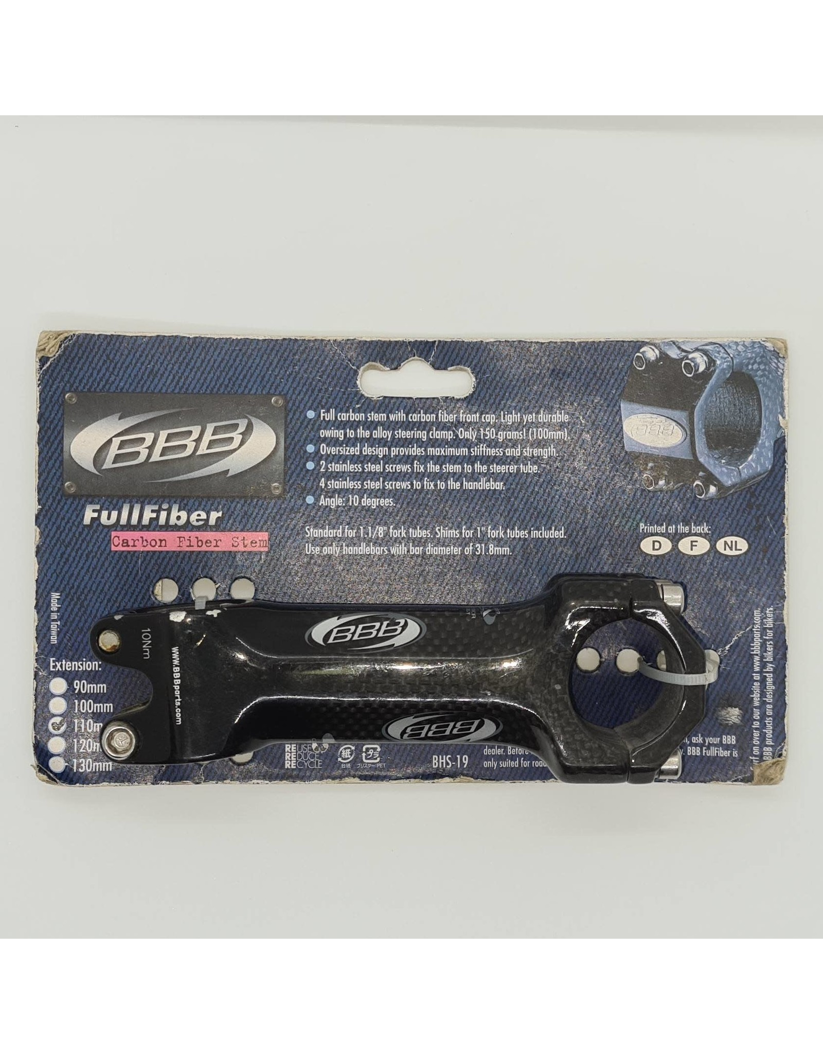 BBB CLEARANCE FULLFIBER CARBON FIBER STEM 31.8 110MM