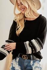 - Black Ruffle Sleeve Detail Long Sleeve Top