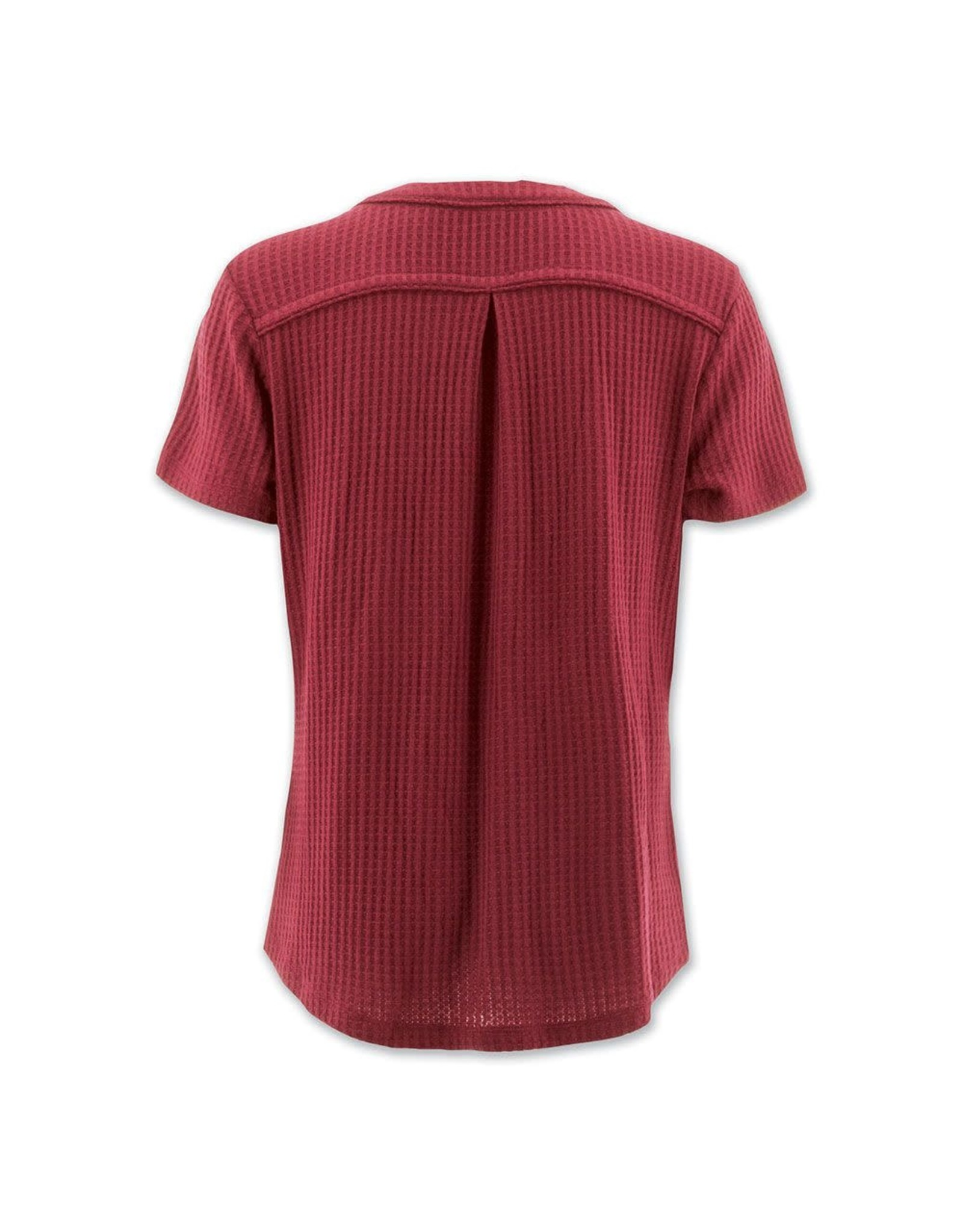 Aventura Red Button & Tie Front Waffle Knit Top