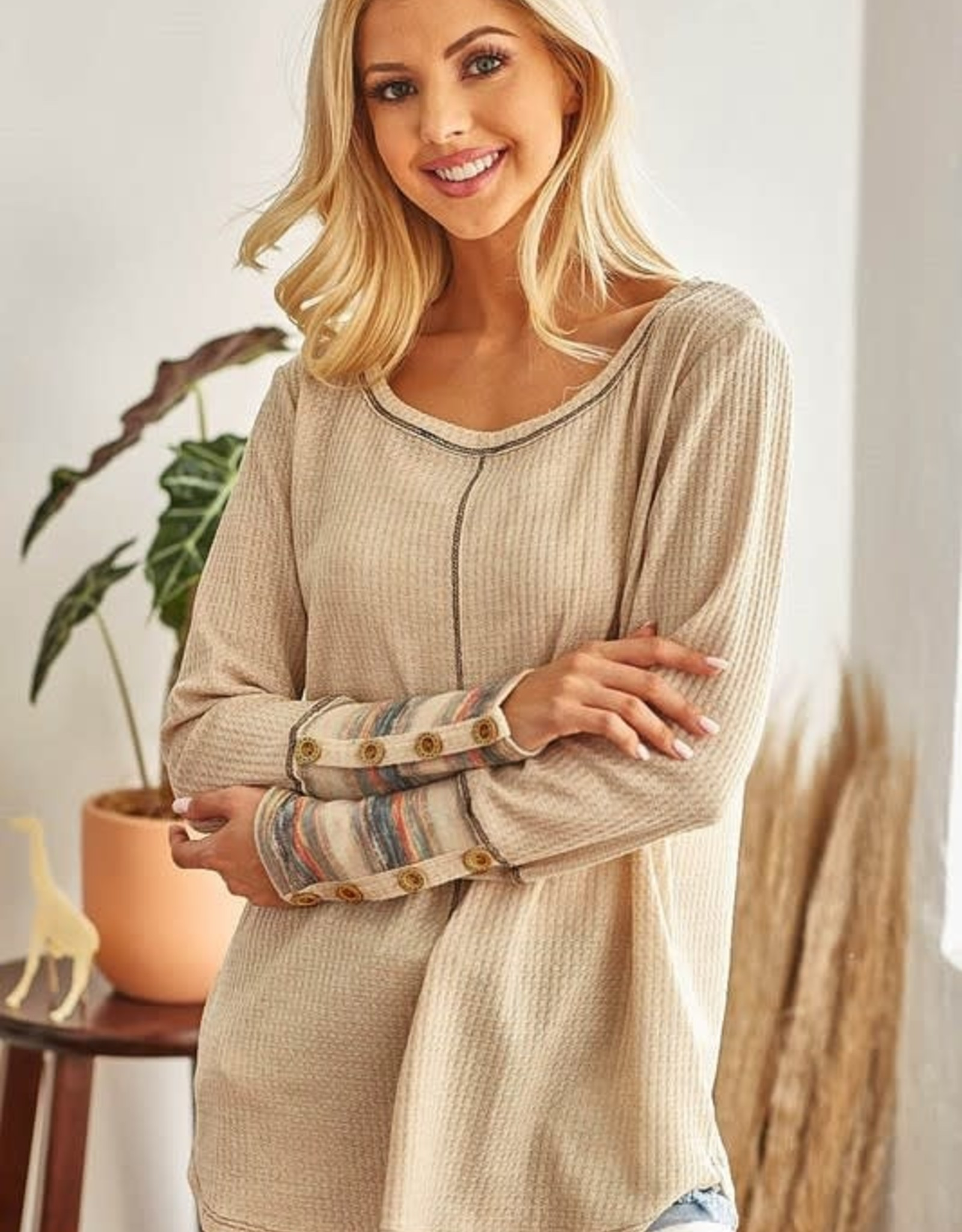 - Cream Waffle Knit Stripe Cuff Top