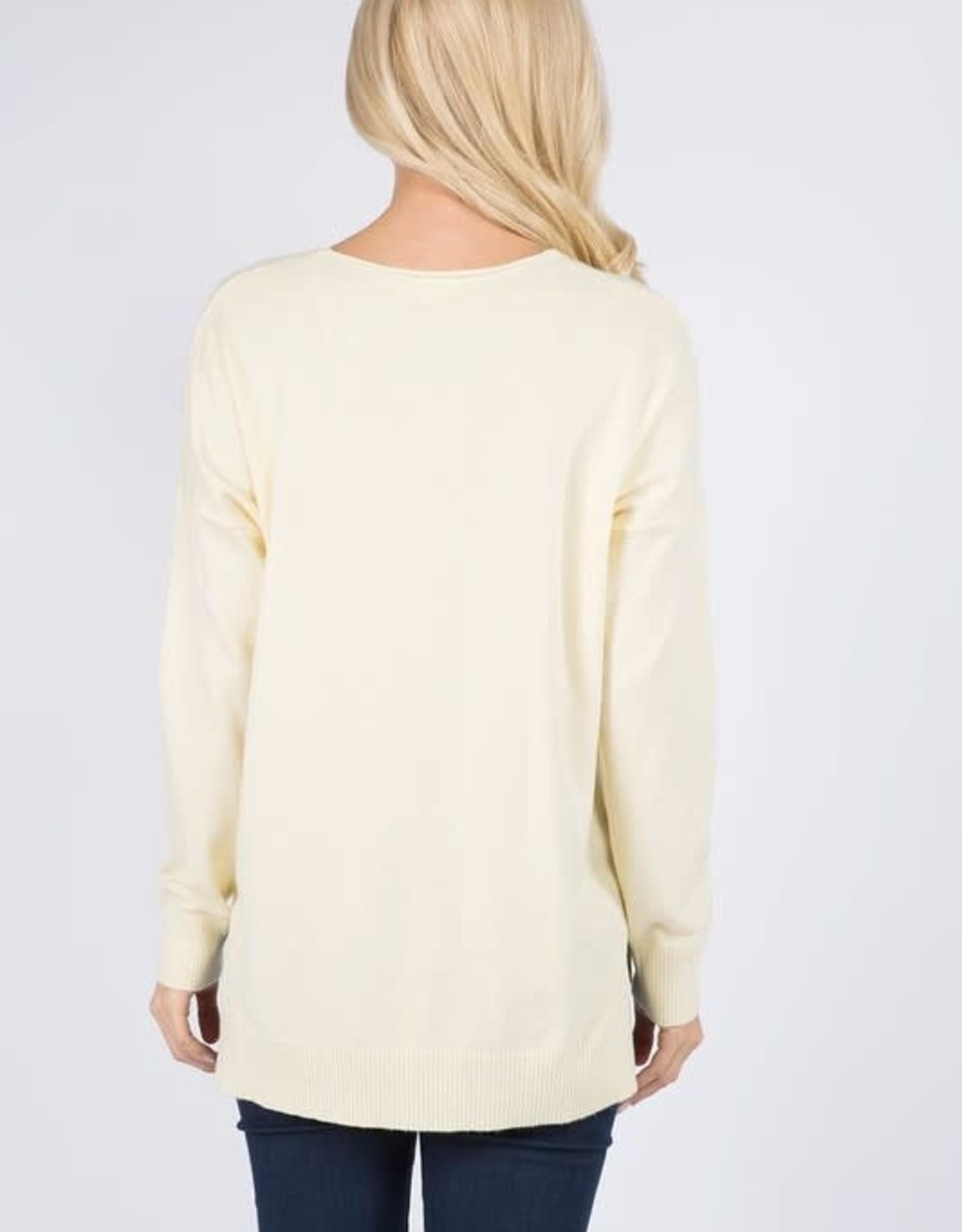 - Light Yellow V Neck Sweater